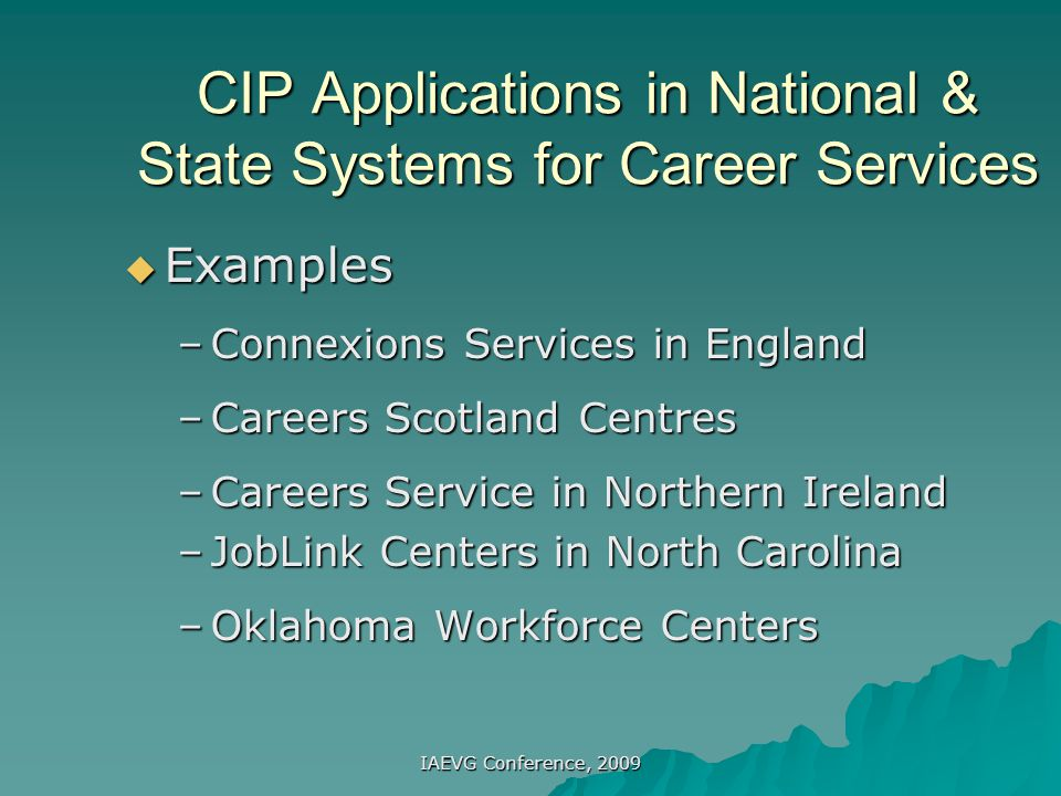 CIP Applications in National & State Systems for Career Services