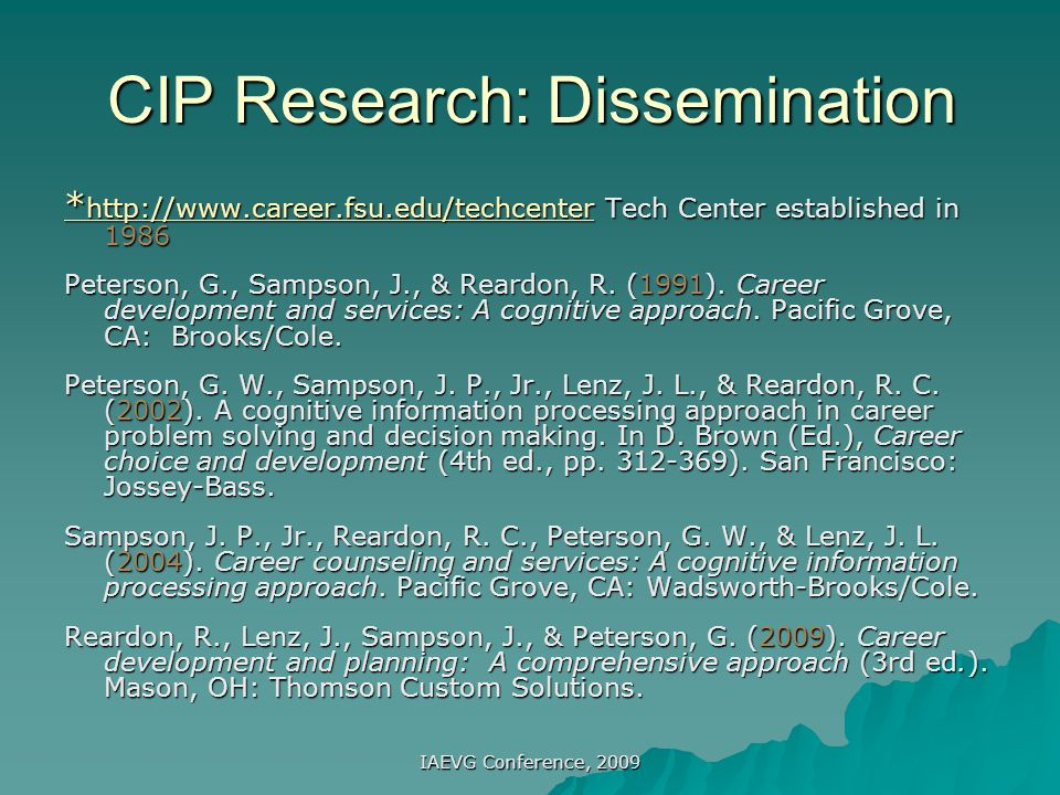 CIP Research: Dissemination