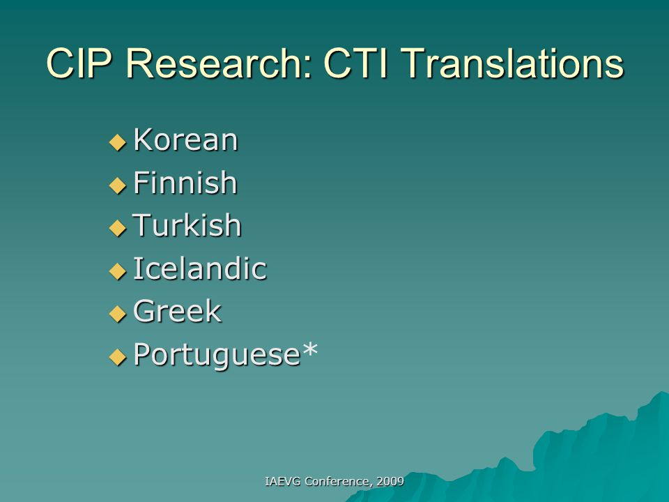 CIP Research: CTI Translations