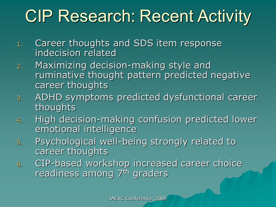 CIP Research: Recent Activity