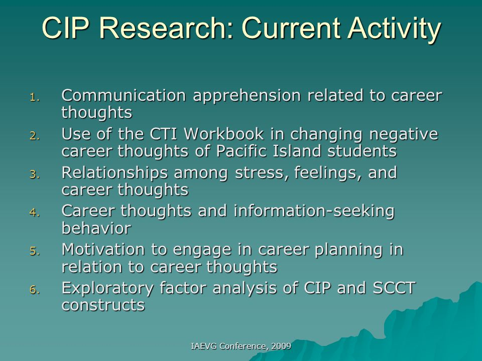 CIP Research: Current Activity