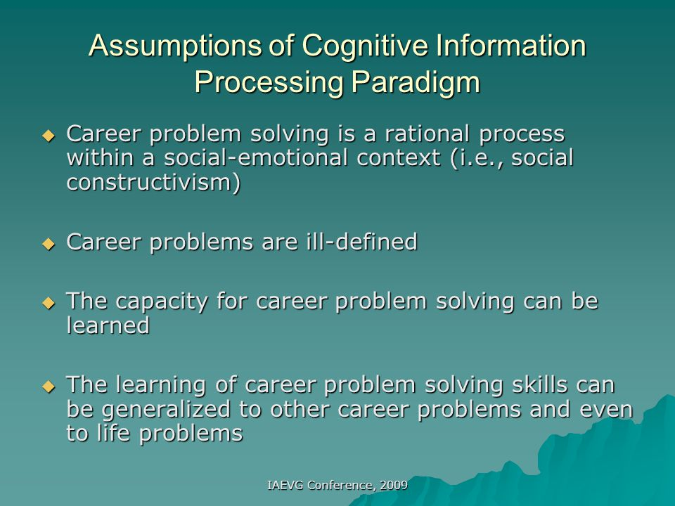 Assumptions of Cognitive Information Processing Paradigm