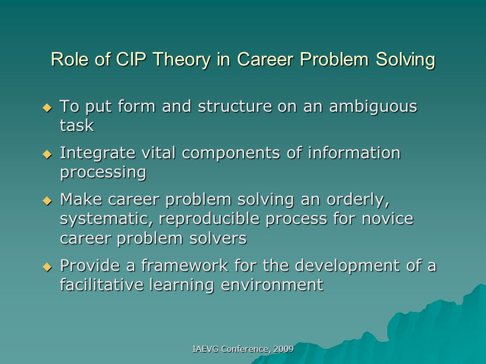 Role of CIP Theory in Career Problem Solving
