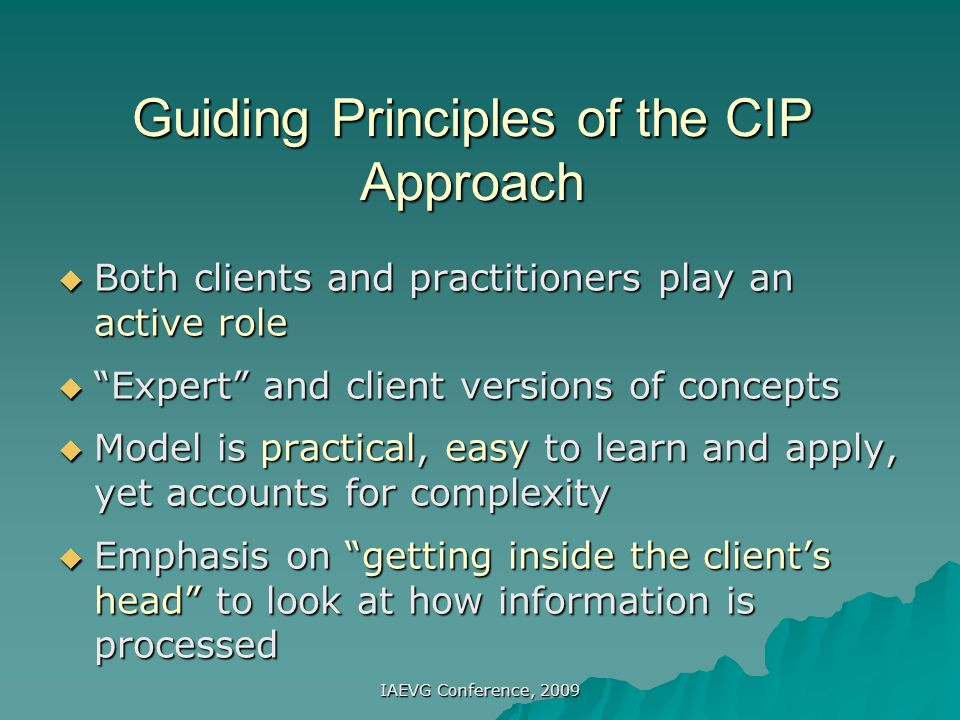 Guiding Principles of the CIP Approach
