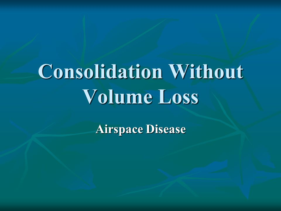 Consolidation Without Volume Loss