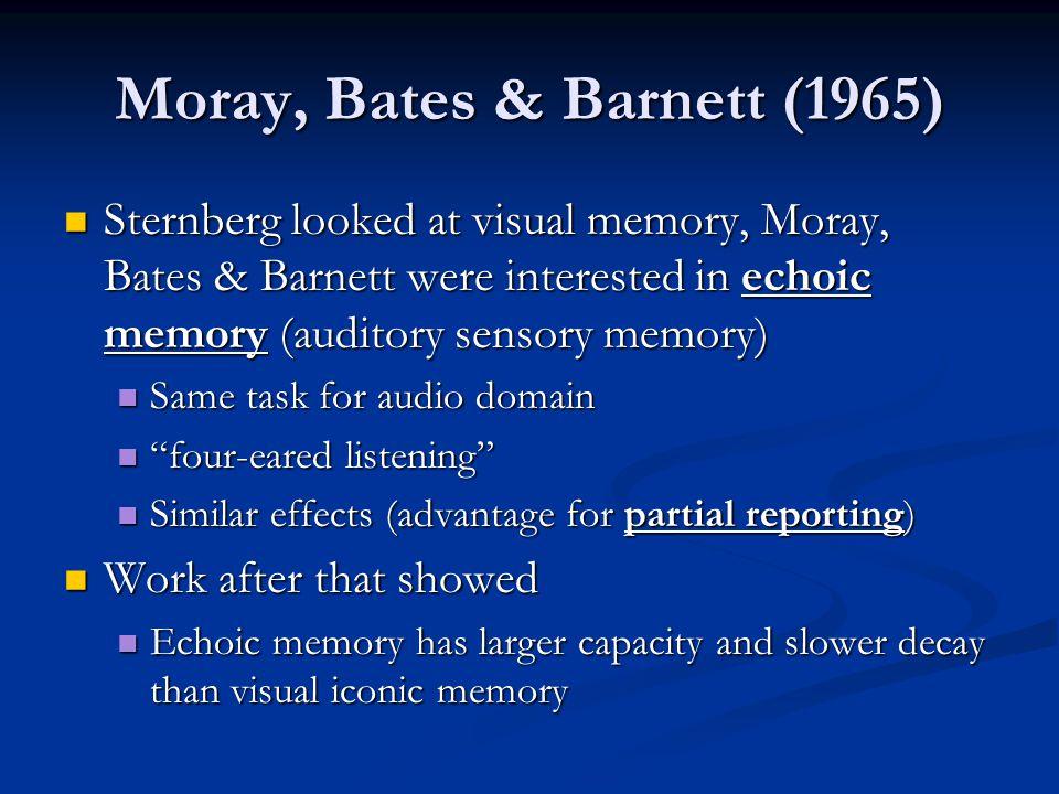 Moray, Bates & Barnett (1965)