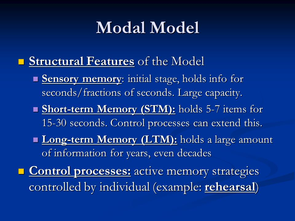 Modal Model Structural Features of the Model