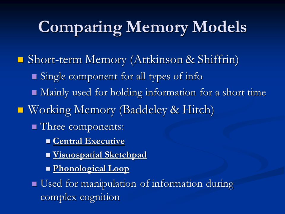 Comparing Memory Models