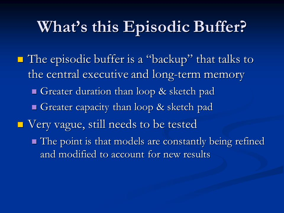 What's this Episodic Buffer