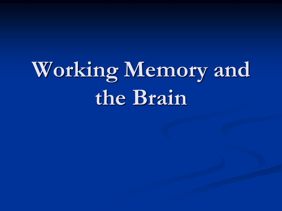 Working Memory and the Brain