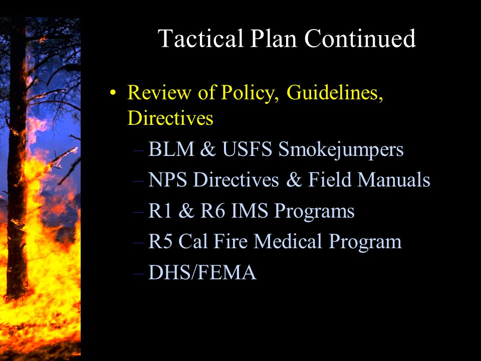 Tactical Plan Continued