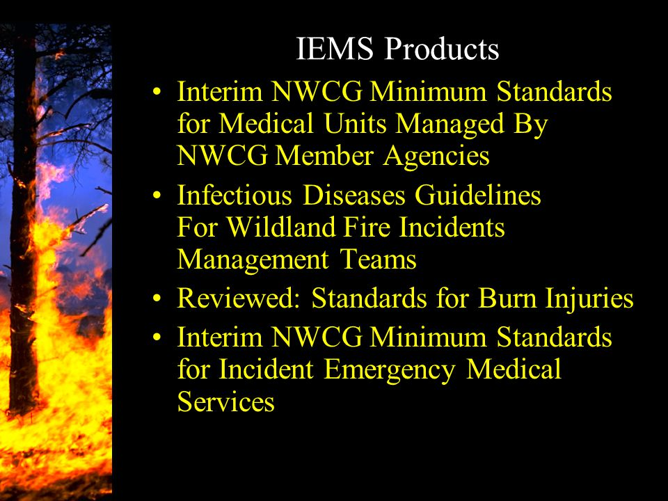 IEMS Products Interim NWCG Minimum Standards for Medical Units Managed By NWCG Member Agencies.