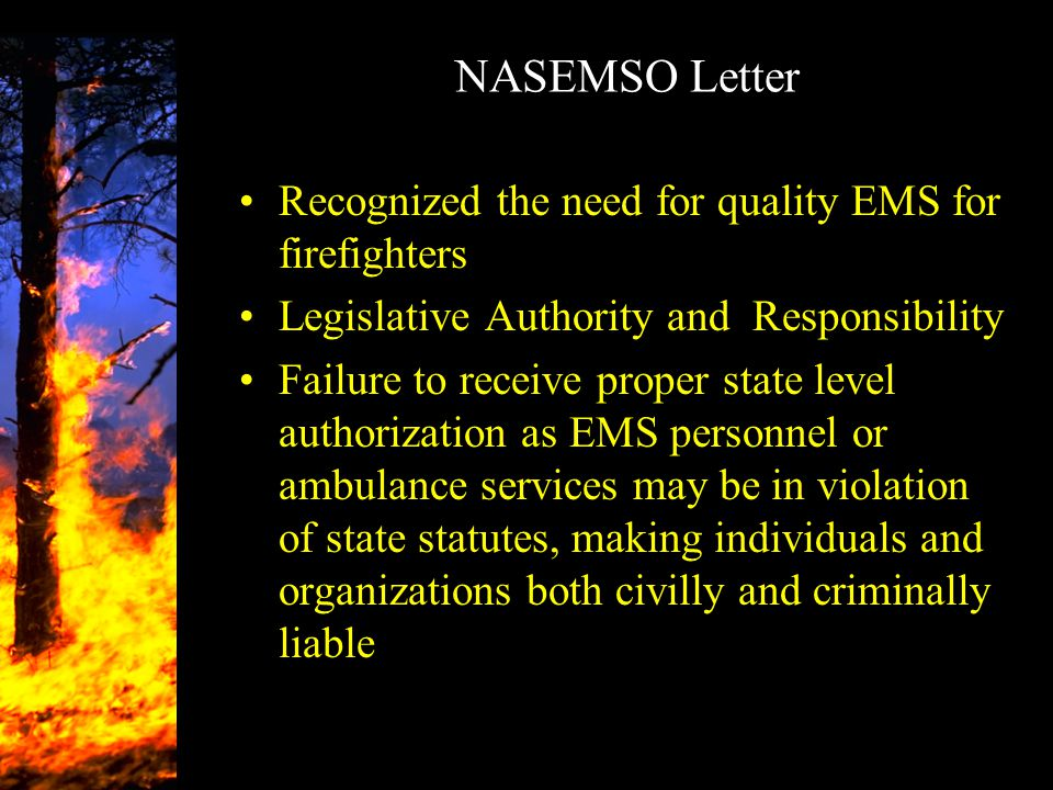 NASEMSO Letter Recognized the need for quality EMS for firefighters