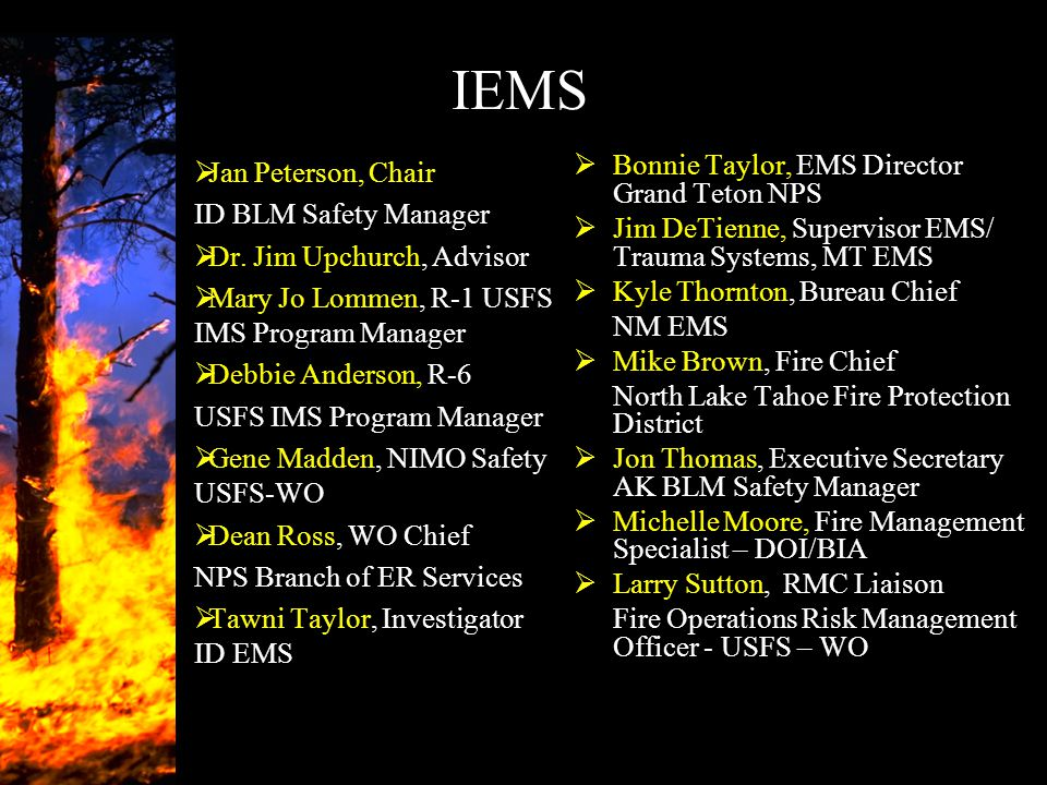 IEMS Jan Peterson, Chair ID BLM Safety Manager