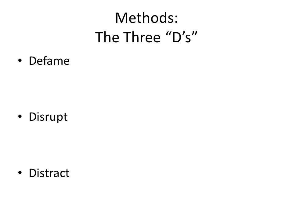 Methods: The Three D's