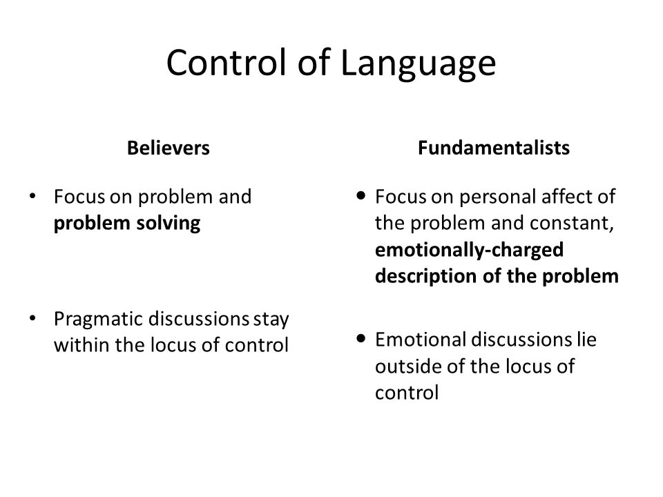 Control of Language Believers Fundamentalists