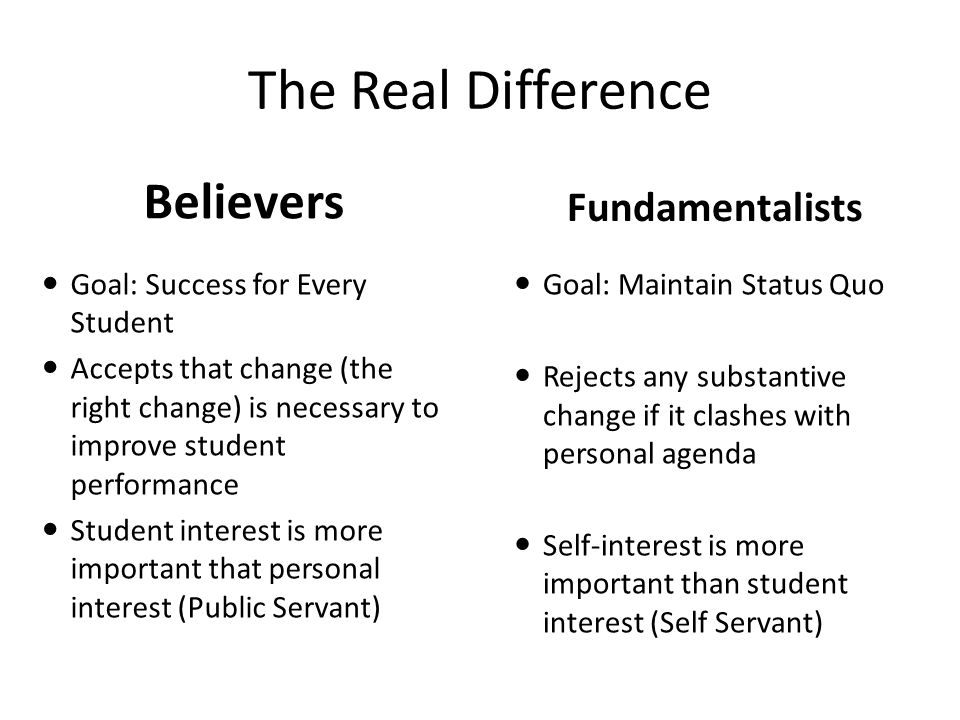 The Real Difference Believers Fundamentalists