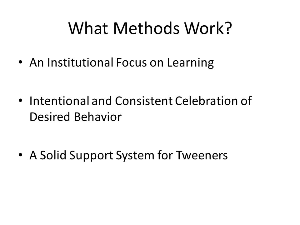 What Methods Work An Institutional Focus on Learning