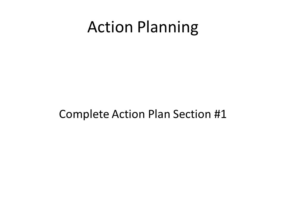 Complete Action Plan Section #1