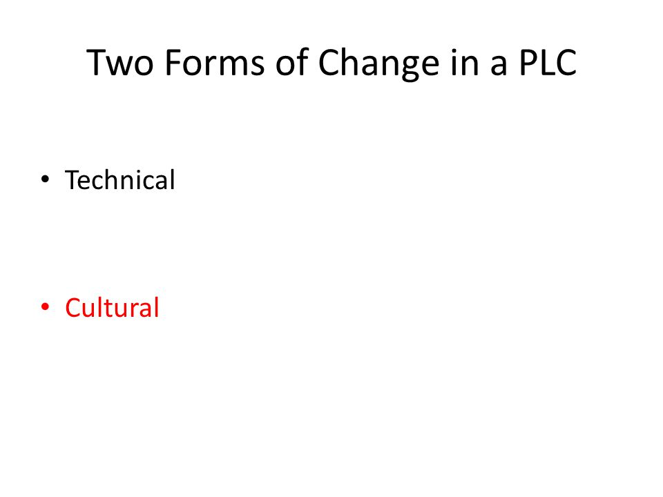 Two Forms of Change in a PLC