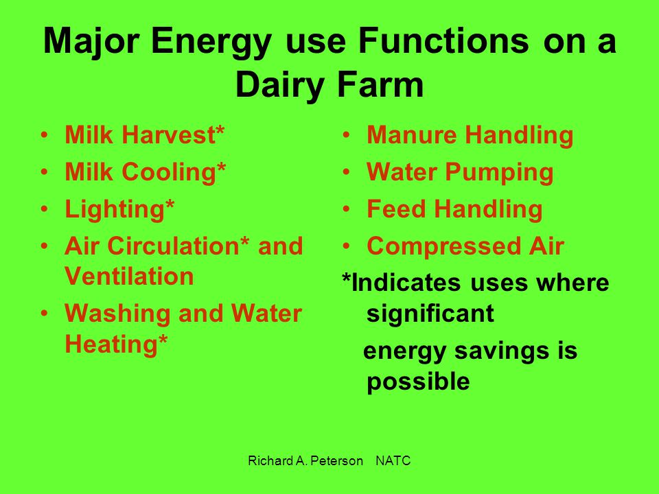 Major Energy use Functions on a Dairy Farm