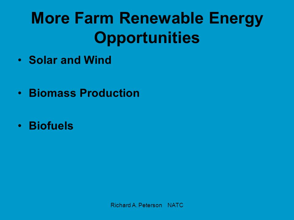 More Farm Renewable Energy Opportunities