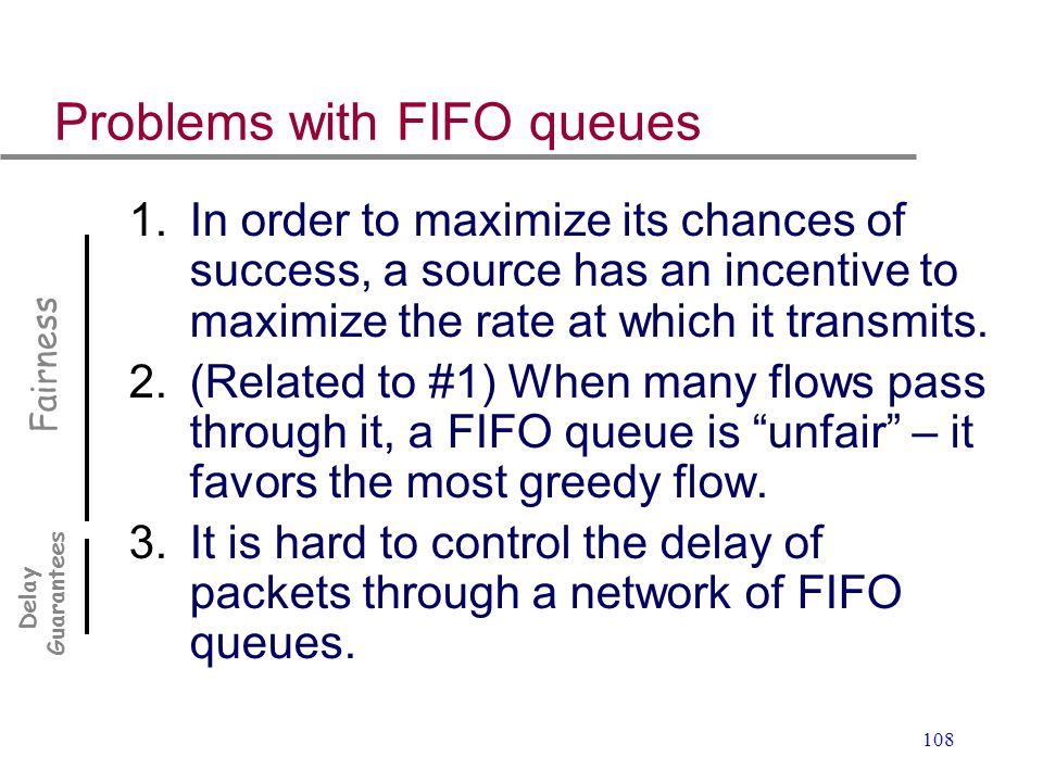 Problems with FIFO queues