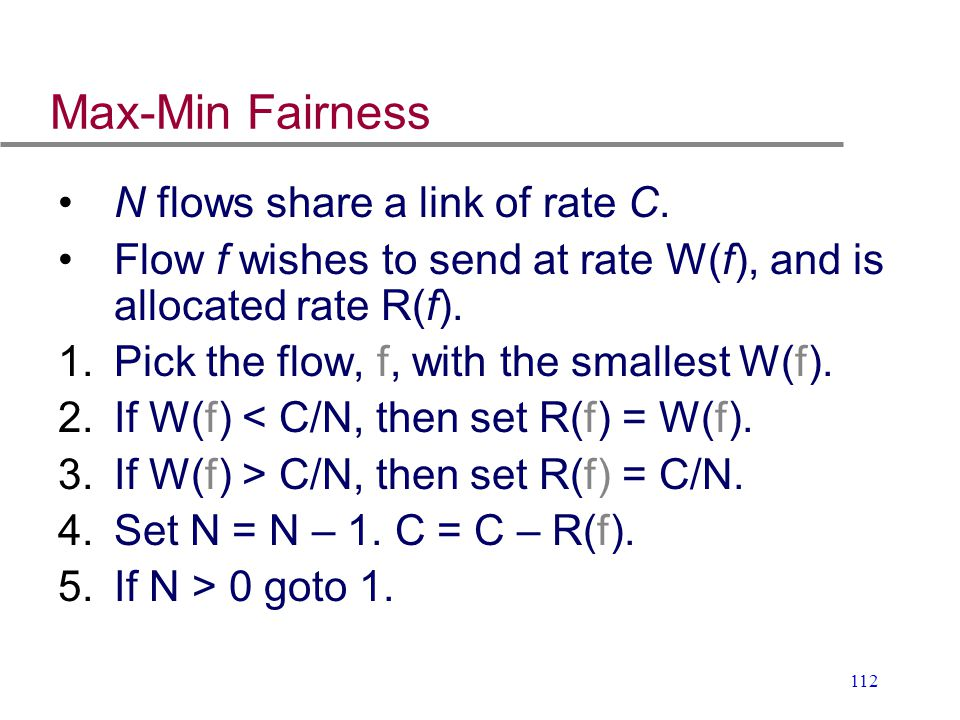 Max-Min Fairness N flows share a link of rate C.