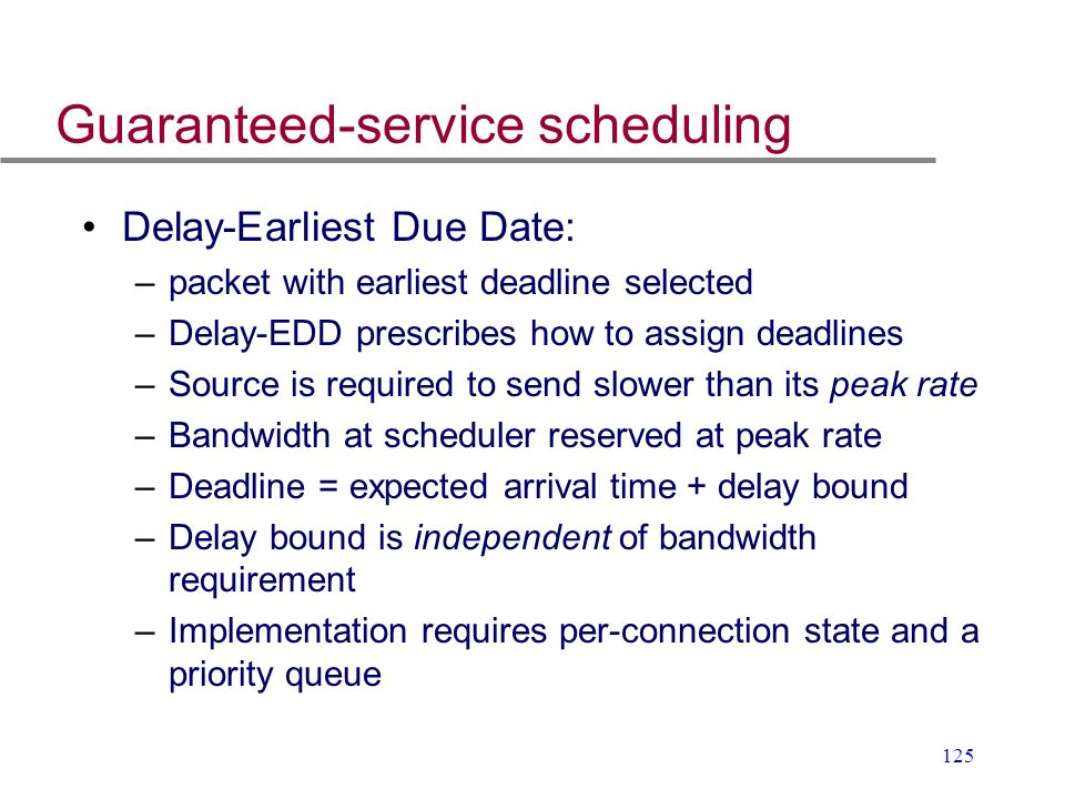 Guaranteed-service scheduling