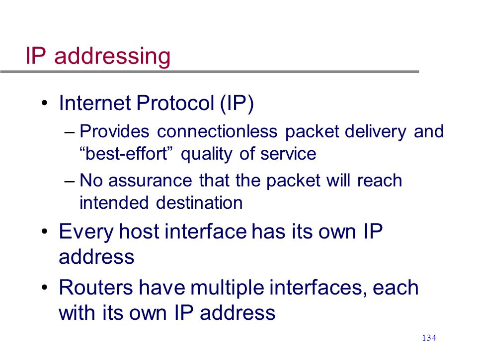 IP addressing Internet Protocol (IP)