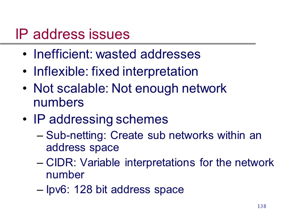 IP address issues Inefficient: wasted addresses