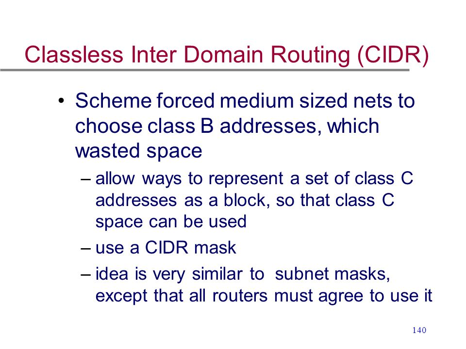 Classless Inter Domain Routing (CIDR)