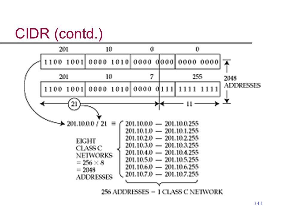 CIDR (contd.)