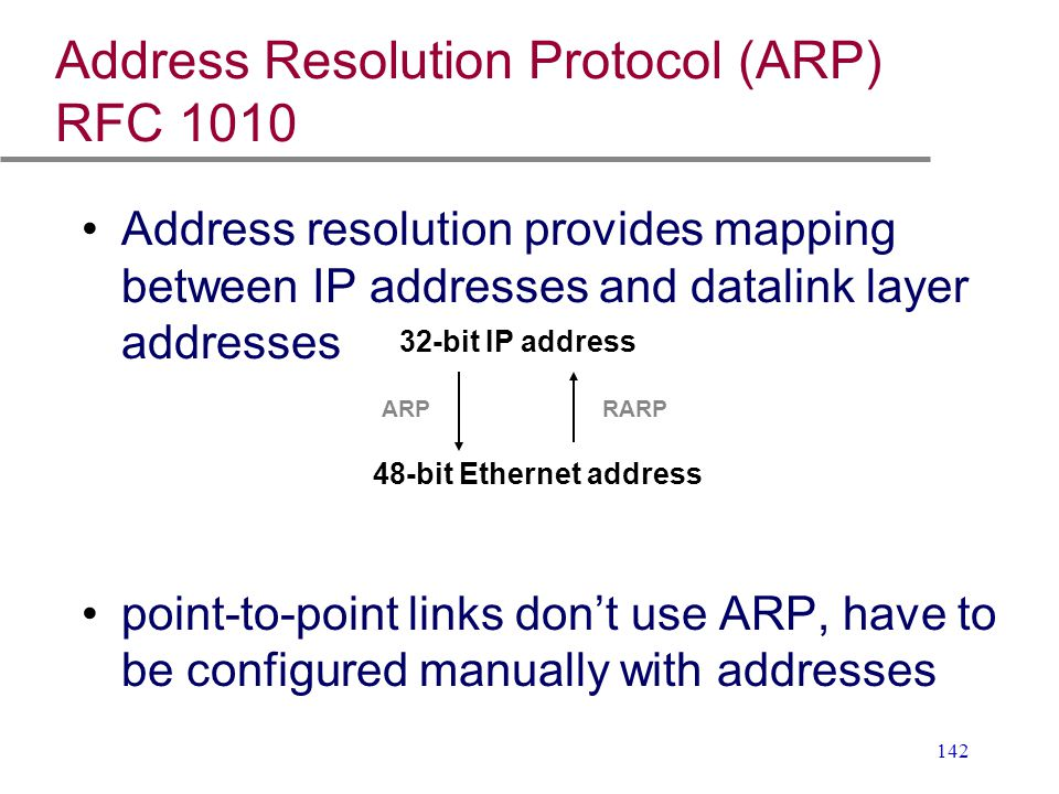 Address Resolution Protocol (ARP) RFC 1010