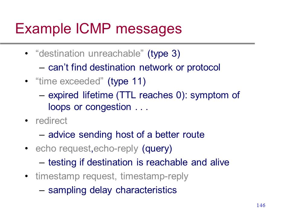 Example ICMP messages destination unreachable (type 3)