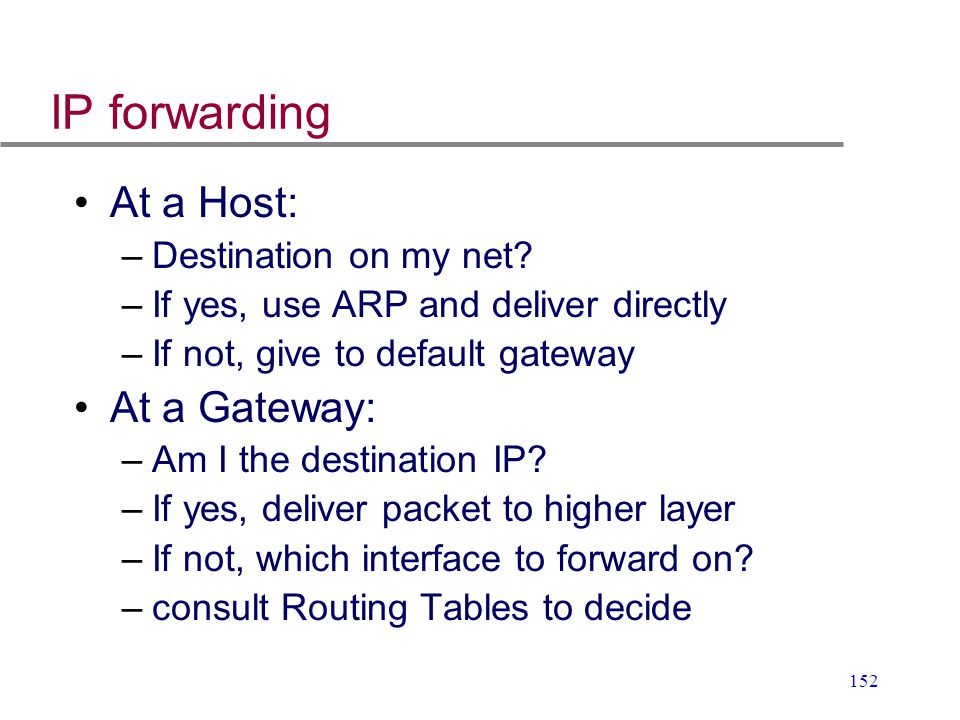 IP forwarding At a Host: At a Gateway: Destination on my net