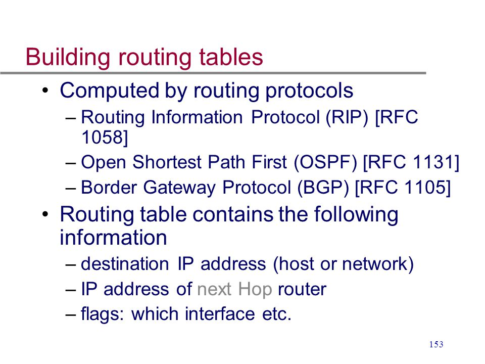 Building routing tables