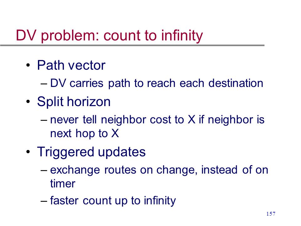 DV problem: count to infinity