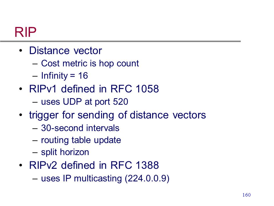 RIP Distance vector RIPv1 defined in RFC 1058