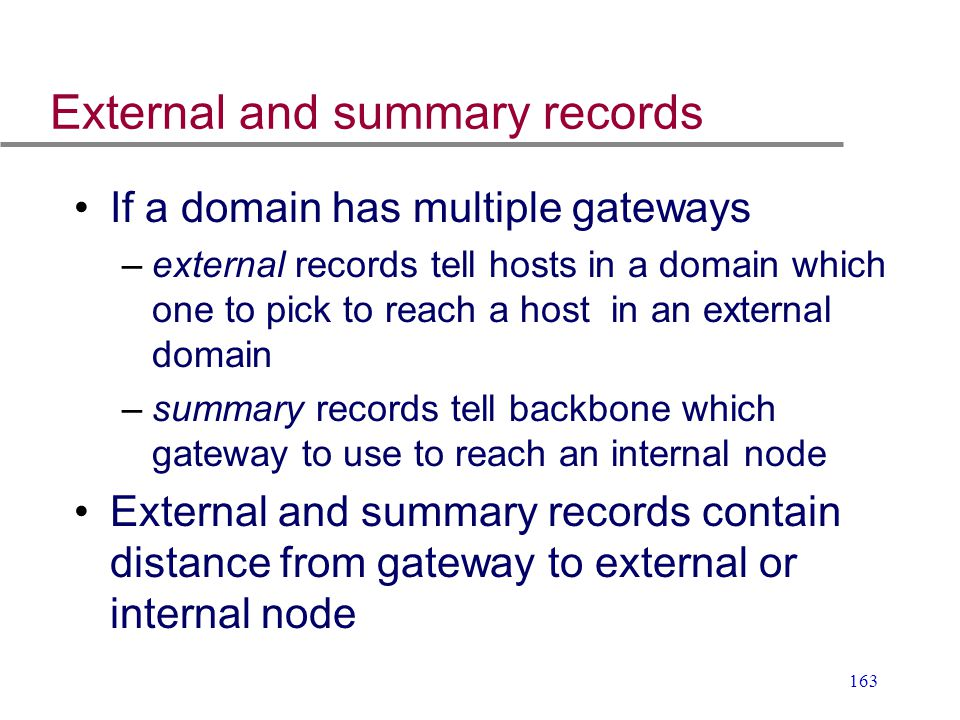 External and summary records