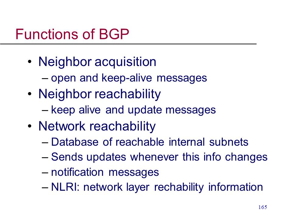 Functions of BGP Neighbor acquisition Neighbor reachability