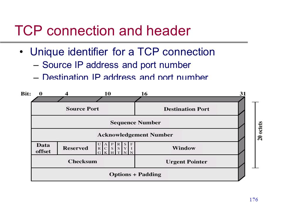 TCP connection and header