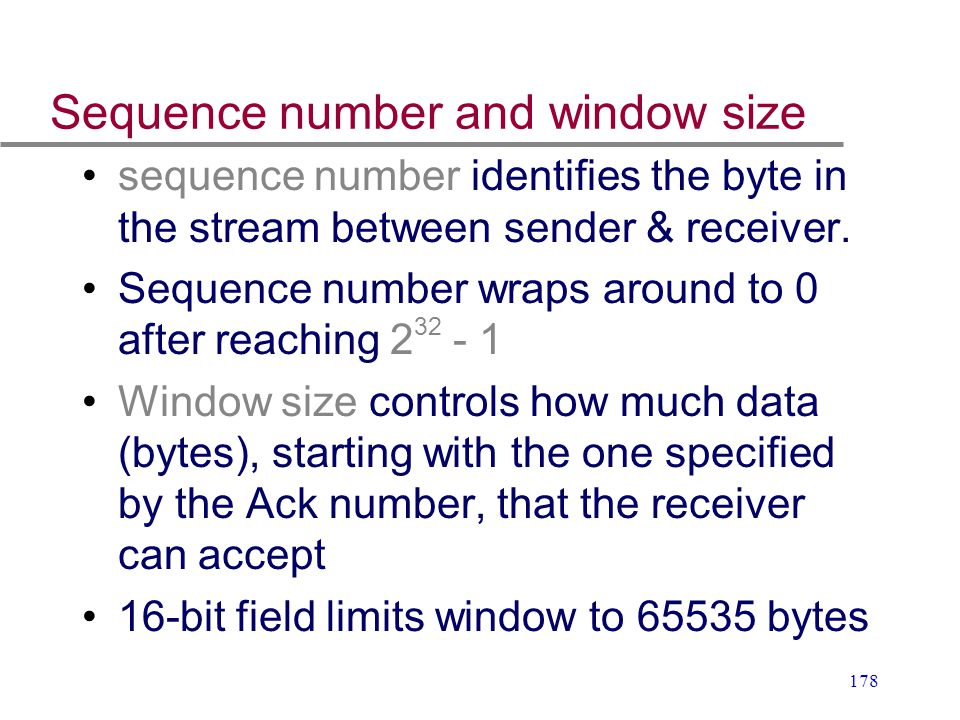 Sequence number and window size