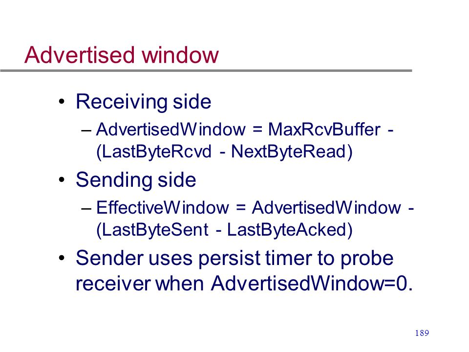 Advertised window Receiving side Sending side