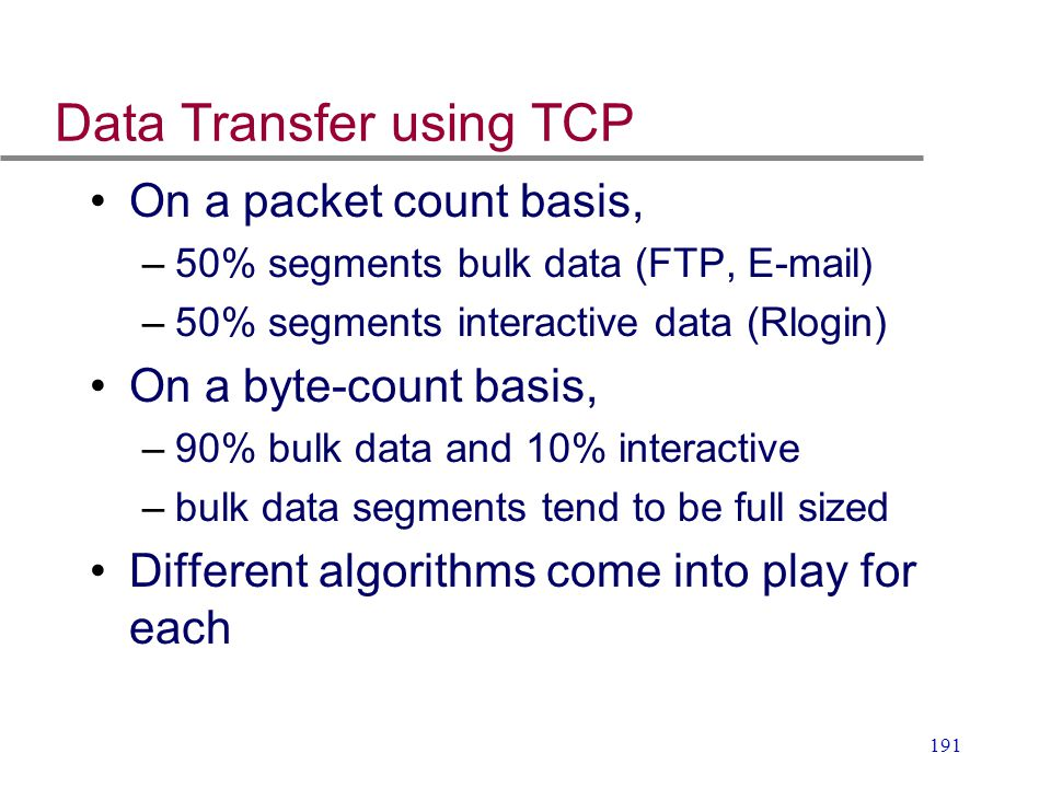 Data Transfer using TCP