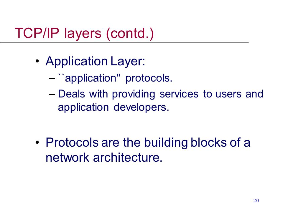 TCP/IP layers (contd.) Application Layer: