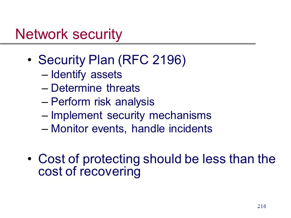 Network security Security Plan (RFC 2196)