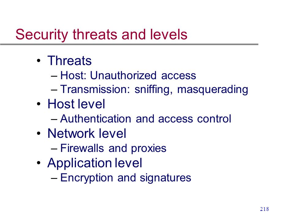 Security threats and levels