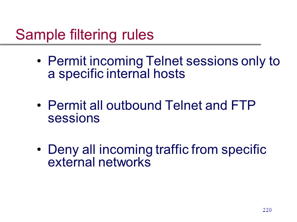 Sample filtering rules