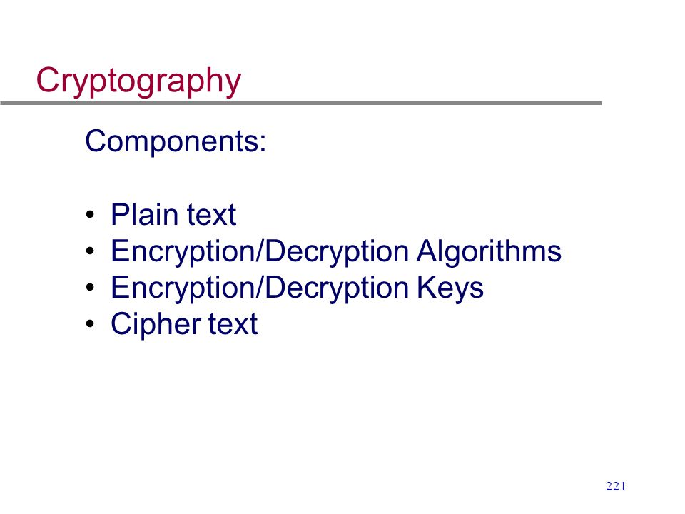 Cryptography Components: Plain text Encryption/Decryption Algorithms